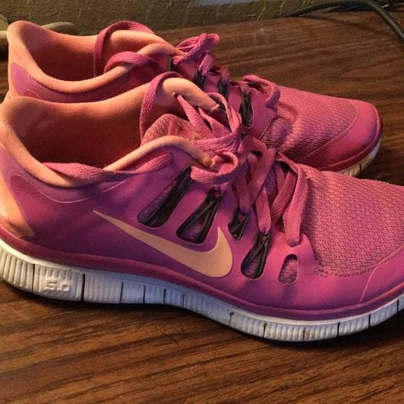 Pink and Orange Nike Free Running Shoes